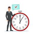 Businessman think on task list checklist stopwatch vector image