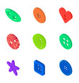 button bright icons set isometric style vector image vector image