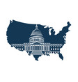 capitol building on background of the map vector image vector image