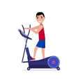 cartoon boy on elliptical cross trainer vector image vector image