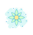 cartoon colored flower icon in comic style flower vector image
