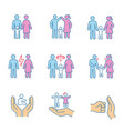 child custody color icons set vector image vector image