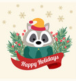 christmas card with tree braches and funny raccoon vector image vector image