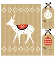 Christmas greeting card gift tags with reindeer vector image vector image