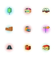 City buildings icons set pop-art style vector image vector image