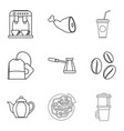 coffee on street icons set outline style vector image vector image