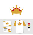 crown logo design with business card and t shirt vector image vector image