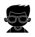 cute boy with sunglasses cartoon vector image vector image