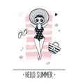 cute girl on beach summer vector image vector image