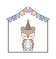cute porcupine animal with garlands and hat party vector image vector image