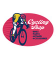 cycling shop badge design vector image vector image