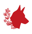 dog head with rustic flowers and leaves vector image