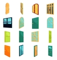 Doors icons set cartoon style vector image vector image