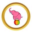 Elephant balancing on a ball icon vector image