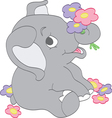 Elephant picking Flowers vector image vector image