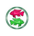 fish logo design in a circle vector image vector image