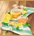 ginger tea composition on wooden background vector image