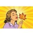 Girl and autumn a woman with red maple leaf vector image vector image