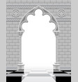 gothic arch and wall in black and white colors on vector image vector image