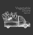 green vegetables shop delivery logo template hand vector image