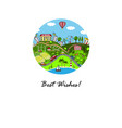 greeting card with happy city vector image vector image