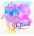 Happy Deepawali watercolor greeting card to indian vector image vector image