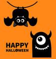happy halloween cute hanging bat monster face vector image
