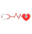heart and stethoscope isolated on a white vector image