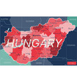 hungary country detailed editable map vector image vector image