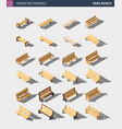 isometric outdoor park bench set vector image