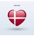 Love Denmark symbol Heart flag icon vector image vector image