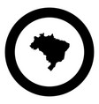 map of brazil icon black color in round circle vector image
