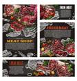 meat product chalkboard banner for butcher shop vector image