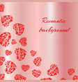 openwork hearts on the background of pink gold vector image vector image