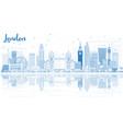 outline london skyline with blue buildings and vector image vector image