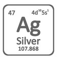 periodic table element silver icon vector image vector image