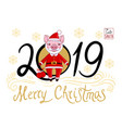 piglet in the role of santa claus vector image vector image
