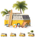 Realistic vintage hippie van icon set