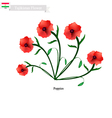 Red Poppies The Popular Flower of Tajikistan vector image vector image