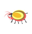 ridiculous red round bug with yellow wings and vector image
