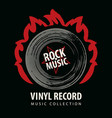 rock music poster with a vinyl record on fire vector image vector image