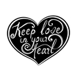Romantic lettering poster with heart vector image