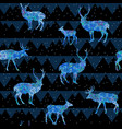 seamless christmas night pattern with deers vector image