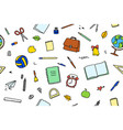 seamless pattern school items on white vector image