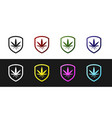 set shield and marijuana or cannabis leaf icon vector image vector image