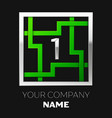silver number one logo symbol in the square maze vector image vector image