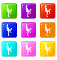 soccer player man icons 9 set vector image