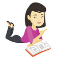 student laying on the floor and reading book vector image vector image