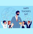 teachers day flowers to teacher students kids vector image