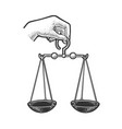themis hand with scales justice sketch vector image
